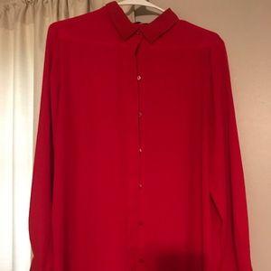 Mango Bright Red Button Down Shirt